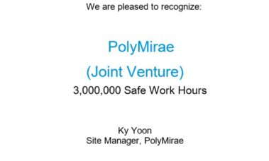 PolyMirae achieved a record of 3 million man-hour without accidents